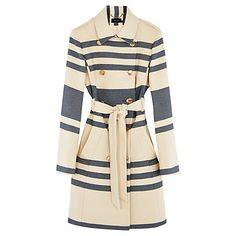 Buy Karen Millen Riviera Stripe Coat, White/Multi Online at johnlewis.com