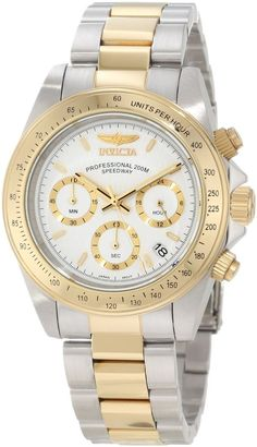 Invicta 9212 Men's Speedway White Dial Chronograph Watch 18k gold plated  #Invicta