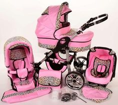 Pink Leopard Print Stroller And Carseat