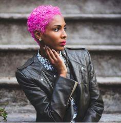 Pink Hair Natural TWA Short Do Haute hair! Dyed Natural Hair, Dyed Hair, Au Natural, Natural Women, Natural Beauty, Short Sassy Hair, Short Hair Cuts, Curly Hair Styles, Natural Hair Styles