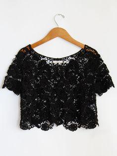 Black Crochet Crop Top