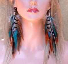 Long Feather Earrings - Woodlands Feather Earrings