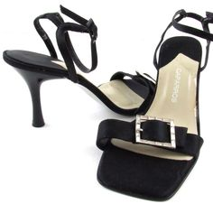 6e9a1c6f9318 Caparros Black Sandals Size 7B Open Toe Heels Shoes Ankle Strap Satin Buckle   Caparros  OpenToeSandals  Dress