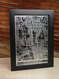 Laser Cut City Map - Columbus, Ohio - 5x7