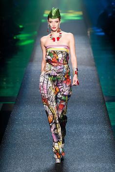 Jean Paul Gaultier Spring 2013  It was a nice reprieve from the up-and-down of the season, and a reminder of an electrifying era in fashion. It may not have been always in the best taste, but damn if they didn't have fun.