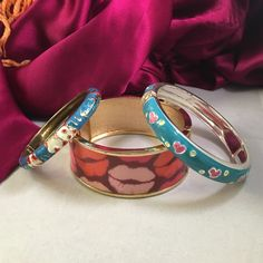 """🎉HP🎉 Fun Panda/Lips/Heart Enameled Bracelets Pre loved. Fun girly patterns. Enameled red and white pandas on blue and silver bamboo background 2"""" diameter, Pink hearts and yellow dots in blue background 2.5"""" diameter, Rosie lips on gold clamper 2.5"""" diameter Abuelita's Attic Jewelry Bracelets"""