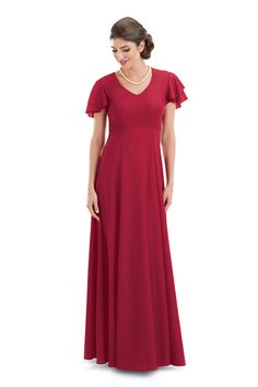 Crepe dress has V neckline and flowing double flutter sleeves with empire bodice. Only Black available for Quick Ship.Need this in Youth sizes? Try our Youth Corelli Dress. Choir Dresses, Concert Dresses, Modest Dresses, Bridesmaid Dresses, Cute Teen Outfits, Outfits For Teens, Dresses For Tweens, Victoria Secret Outfits, College Outfits