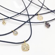 Brooke Worthington Jewelry • 1mm leather cord and diamond/gold pendant chokers