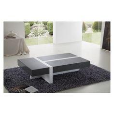 Table basse rectangulaire gris foncé et blanc avec tiroirs coulissants