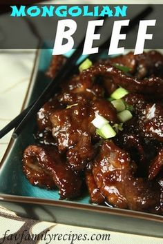 Mongolian Beef - Favorite Family Recipes - Erica's Mongolian Beef - This tastes JUST like P. Chang's Mongolian Beef! You can serve it how P. Changs does (by draining the excess sauce and serving it semi-dry) OR you can keep the excess sauce and spoon Great Recipes, Dinner Recipes, Favorite Recipes, Recipe Ideas, Beef Dishes, Food Dishes, Main Dishes, Meat Dish, I Love Food