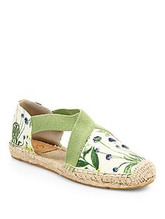 Tory Burch Catalina Floral-Print Canvas Espadrille Flats
