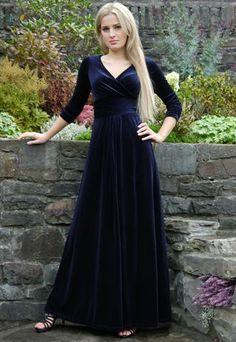 Formal Velvet Evening Dress Gown Nightblue G16 from MontyOutletStore