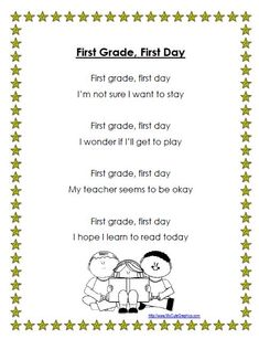 Cute poem for the first day of first grade!  Follow link to see Smart Board lesson with activities for this poem.  $