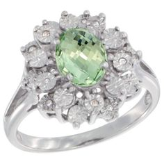 $108.25 USD, Sterling Silver Natural Green Amethyst Ring Oval by WorldJewels