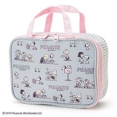 """Sanrio Snoopy makeup pouch gray From Japan New. """"Size body: about 20 × 7 × 14.5cm The main materials and raw materials polyester Zipper Expression Inside brush pocket 3 & pocket 2""""."""