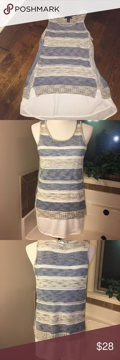 Cute crocheted tank Crocheted tank in beautiful soft blue and greys. Ecru flowey hem for layered look. INC International Concepts Tops Tank Tops