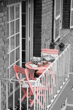 pink chairs in balcony