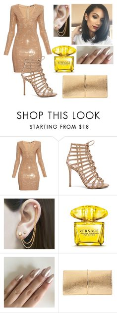 """Only Girl"" by girlygirlprincess ❤ liked on Polyvore featuring Balmain, Gianvito Rossi, Embers Gemstone Jewellery, Versace and Nina Ricci"