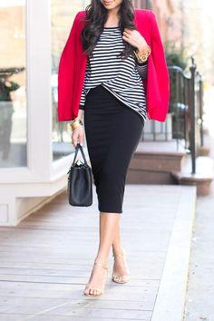 Pencil-skirt + Stripes http://withlovefromkat.com/power-blazer/?utm_source=rss&utm_medium=rss&utm_campaign=power-blazer