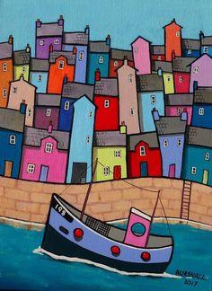 Paul Bursnall - Paintings for Sale - Huisies - glaskunst Drawing For Kids, Art For Kids, Seaside Art, Naive Art, Art Club, Whimsical Art, Paintings For Sale, Doodle Art, Ceramic Art