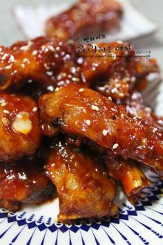 Hot and spicy lip gangjeong. Grilled Back Ribs – Shellfish Recipes Shellfish Recipes, Sweet And Spicy, Kimchi, Main Meals, Pork Recipes, Ribs, Fried Rice, Chicken Wings, Dinner Recipes