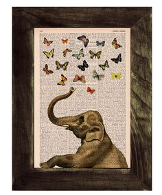 Elephant in love counting butterflies book print - Elephant in love - collage Printed on vintage dictionary book page, $7.99