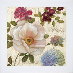 Add some floral appeal to any wall with this framed print. The image of multiple pleasing flowers has been coated with clear resin to protect the art and eliminate the need for glass within the frame.