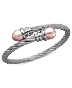 Stainless Steel Bracelet, Pink Cultured Freshwater Pearl Bangle (10mm)