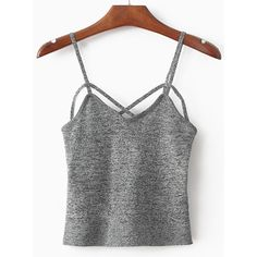 Spaghetti Strap Grey Cami Top (74 ILS) ❤ liked on Polyvore featuring tops, cami tank tops, gray camisole, camisole tank top, grey camisole and stretch tank top