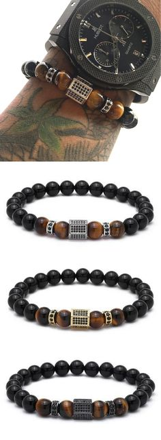Mens Beaded Tiger stone bracelet with Hex Charm in choice of 4 colors. Sale & Free Worldwide Shipping.