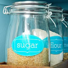 Dress up your pantry with elegant jar labels in two sizes. You can print them using our downloadable designs.