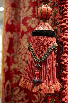Passementerie and velvet at Watts of Westminster, Maison & Objet 2014 Deco Rose, Glands, Passementerie, Ribbon Embroidery, Crochet, Tassels, Creations, Curtains, Boho