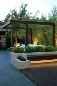 73 Best Terrace Design Ideas For Relaxing At Home | kevoin.com  #terrace #terraceideas #terracedesign Backyard Shade, Backyard Patio Designs, Modern Backyard, Pergola Shade, Pergola Designs, Modern Landscaping, Backyard Landscaping, Patio Ideas, Backyard Ideas
