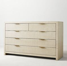 RH TEEN's Burke Raffia Wide Dresser:The natural warmth and texture of woven raffia complement our collection's spare forms, emphasizing the inherent beauty of simple, streamlined shapes. Slim metal drawer pulls serve as refined accents. Teen Dresser, Wide Dresser, Oak Dresser, Bedroom Dressers, Natural Wood Dresser, White Lacquer Dresser, Baby Swing Set, Rh Teen, Yurts