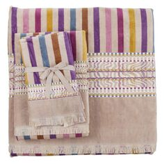 JACQUARD AND STRIPED TOWEL