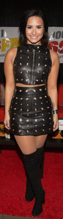 black leather mini skirt and studded zipper top