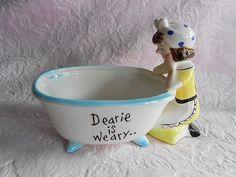Vintage ENESCO DEARIE Is WEARY Soap Dish Victorian Clawfoot Bathtub Ceramic Maid Aqua Blue Trim Yellow Dress Apron 1950s Bath Tub Bowl Lady