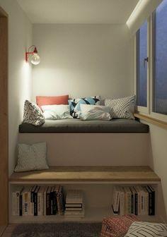kleine Wohnung einrichten clevere Ideen zum Nachmachen - Selbstgebautes Bett in Nische des Zimmers mit Stauraum unterm Bett. Wohnideen für kleines Schlafzimmer.