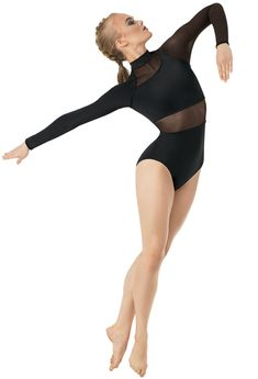 Long-Sleeve Powermesh Leotard