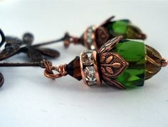 Deco Dragonflies Smoky Topaz, Antique Copper, Dragonflies, Czech Glass, Olive Green, Swarovski Crystals, Cufflinks, Fancy, Deco