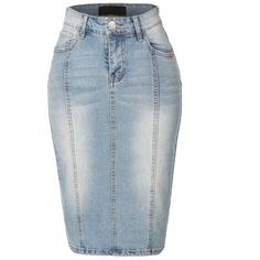 LE3NO Womens Fitted Pencil Denim Jean Skirt with Pockets (99 BRL) ❤ liked on Polyvore featuring skirts, blue skirt, pencil skirt, blue pencil skirt, pocket skirt and stretchy pencil skirt