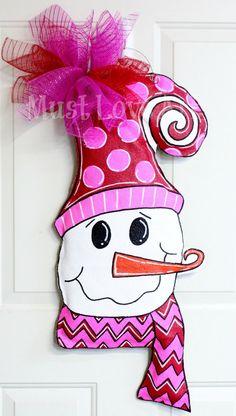 Whimsical Snowman Burlap Door Hanger by MustLoveArtStudio on Etsy, $35.00