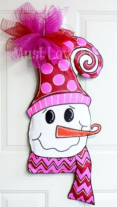Whimsical Snowman Burlap Door Hanger by MustLoveArtStudio on Etsy, $38.50