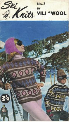 Ski Knits No. 3 by Villawood, free fair isle knits from the 60's