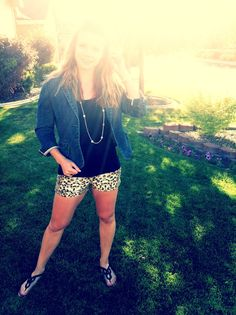 leopard shorts & jean blazer