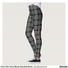 Cute Chic Grey Black Checked Pattern Leggings