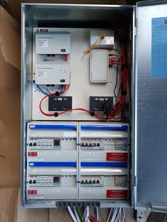 A 2 phase switchboard for an off grid system with generator backup. Off Grid System, Off Grid Solar, Off The Grid, Solar System, Locker Storage, Home, Sistema Solar, Ad Home, Homes