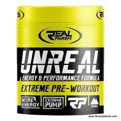 Купи Real Pharm Unreal на ниска цена. Unreal е концентрирана предтренировъчна добавка, която гарантира повишена енергия и мускулно напомпване.