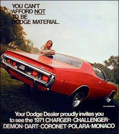 1971 Dodge Charger vintage print advertisement ( You can afford to be Dodge material )