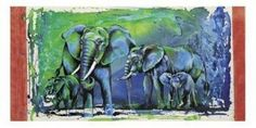 Wild Elephants Poster Print by Rolf Knie x Elephant Poster, Wild Elephant, Elephants, Vivid Colors, Poster Prints, Drawings, Switzerland, Painting, Illustrations